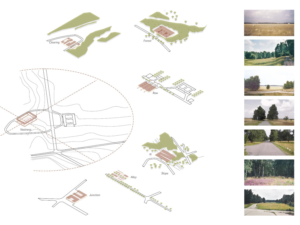 CAMP REINSEHLEN Proposals for a sustainable utilization and conversion of a former British military tank training area were to be developed. The 'complex' was conceived as building typology - similar a farm's embedding within landscape. 7 Complexes find their identity by directly connecting to specific contexts: forest, alley, crossing, width, row, clearing and slope. With its distinct typology and its relations to the stunning landscape features the 'complex' gives the prospective client first of all a substantial image of its architecture. But it is also a flexible negotiation tool for the integration of the client's needs and ideas. (For: Campreinsehlen GbR, with: ASP landscape architects)
